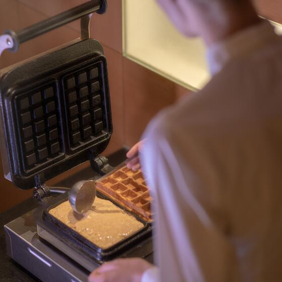 waffles for breakfast at hotel Theresia