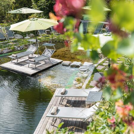 swimming pond garden hotel theresia in austria
